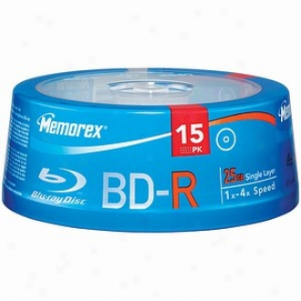 Memorex Blu-ray Discs 4x Write Once Bd-r; 15-ct Spindle