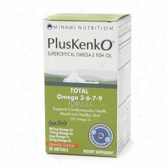 Minami Nutrition Pluakenko Omega-3 Fish Oil, Omega 3-6-7-9, Softgel, Orange