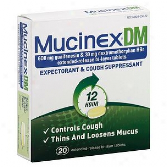 Mucinexdm Expectorannt And Cough Suppressant, 600mg, Extended-release Bi-layer Tablets