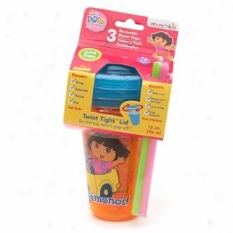 Munchkin Dora The Explorer! Re-usable Spill Demonstration Orgies, 10 Oz With Straw