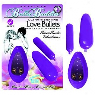 Nasstoys 4 Speed Ultra Twin Turbo Vibrating Bulleet Buddies, Purple