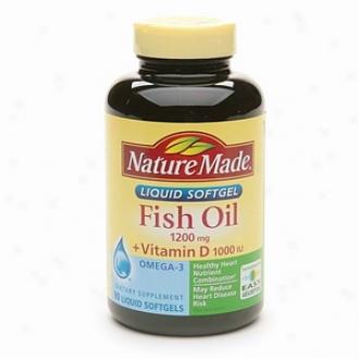Mind Made Fish Oil 1200mg + Vitamin D 1000 Iu, Liquid Softgels