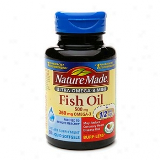 Nature Made Ultra Omega-3 Mini Fish Oil, 500mg, Liquid Sofrgels