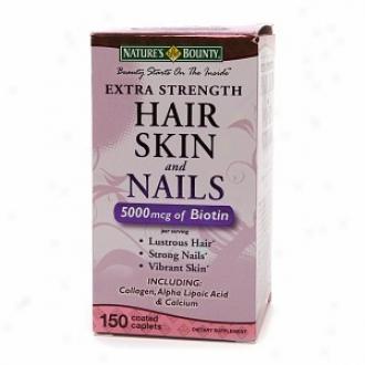 Nature's Bounty Extra Srength Hair Skin And Nails 5000 Mcg Of Biiotin, Caplets