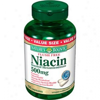 Nature's Bounty Flush Free Niacin Inositol Hexanicotinate 500 Mg Capeules