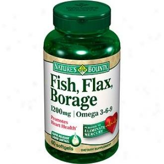 Nature's Bounty Omega 3-6-9 Fish, Flax, Borsge 1200 Mg Softgels