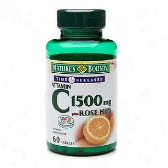 Nature's Bounty Vitamin C 1500mg Plus Rose Hips, Time-released