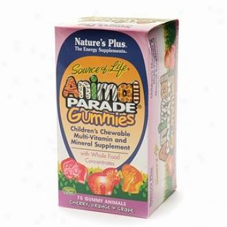 Nature's Plus Beast Parade Gummies Children's Chewable Multi-vitamin, Assorted Flavors
