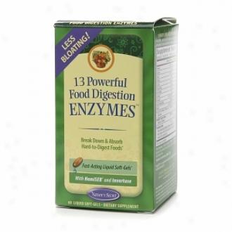 Nature's Secret 13 Efficacious Food Digestion Enzymes, Liquid Soft-gels