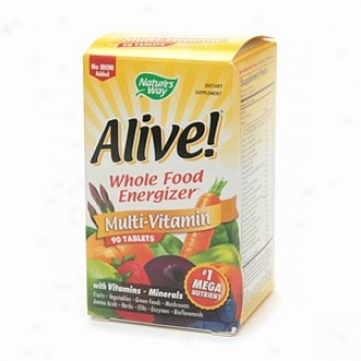 Nature's Way Alive! Whole Food Energizer Multi-vitamin, No Iron, Tablets