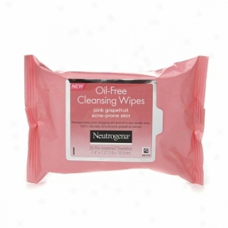 Neutrogena Oil-free Cleansing Wipes For Acne Prone Skin, Pink Grapefruit