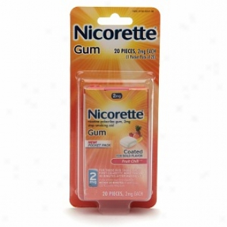 Nicorette 2 Mg Nicotine Gum Pocket Pack, Fruit Chill
