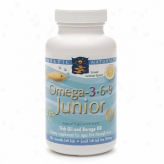 Noreic Naturals Omega 3-6-9 Junior, 500mg, Chewable Soft Gela, Lemon