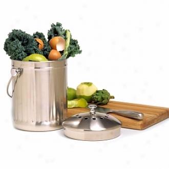Norpro Stainless Steel Kitchen Compost Keeper, 1 Gallon