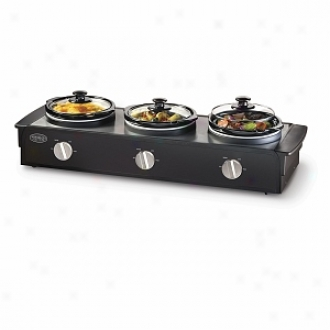 Nostalgia Electrics Tsc-250blk 2.5-quart Triple Slow Cooker Buffet, Stainless/black