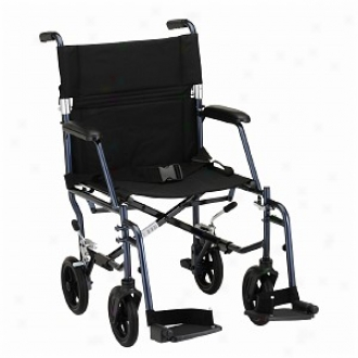 Nova Transport Chair 18in. Ultra Lightweight With D/a And S/a Footrests, Blue