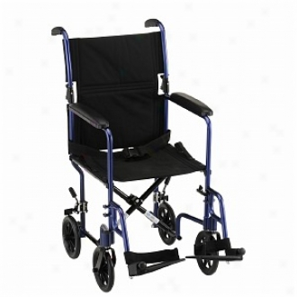 Nova Transport Chair 19in. Lightweight Attending S/a Footrests, Blue