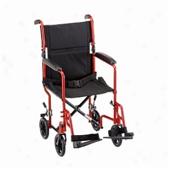 Nova Transport Chair 19in. Lightweight With S/a Footrests, Red