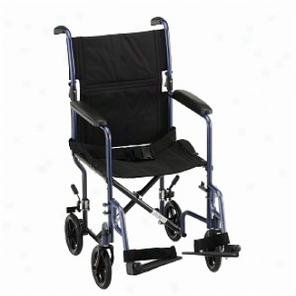 Nova Transport Chair 19in. With S/a Footrests, Blue