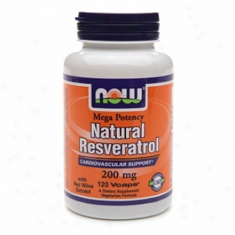 Now Foods Natural Resveratrol Cardiovascular Support 200 Mg, Veggie Caps