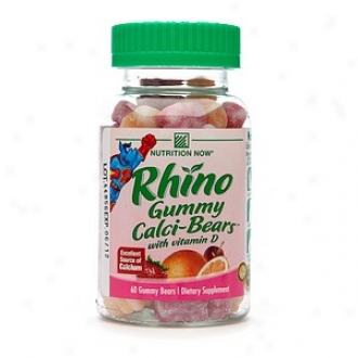 Nutrition Now Rhino Gummy Calci-bears With Vitamin D, Strawberry Cream, Orange Cream &-Cherry Cream