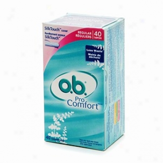O.b. Pro Comfort Non-applicator Tampons, Value Pck, Regular, 40 Ea