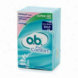 O.b. Pro Comfort Non-applicator Tampons, Value Pack, Super, 40 Ea