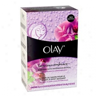 Olay Body Bar With Massaging Design, 4.25oz Bars, Luscious Embrace