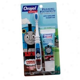 Orajel Toddler Thomas Toddler Training Toothpaste With Toothbrush, Tooty Fruity