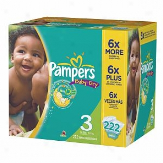 Pampers Baby Dry Diapers, Economy Plus Pack, Size 3, 16-28 Lbs, 222 Ea