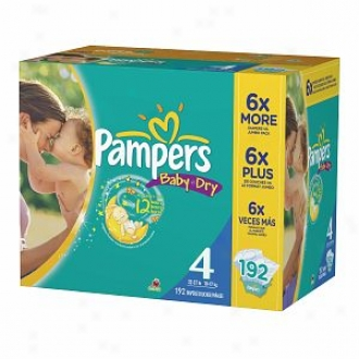 Pampers Baby Dry Diapers, Economy Plus Pack, Size 4, 16-34lbs, 192 Ea