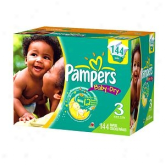 Pampers Baby Dry Diapers, Value Pack, Size 3, 16-28 Lbs, 144 Ea