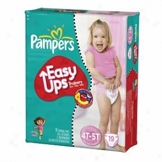 Pampers Easy Ups Girls Diapers, Jumbo Pack, 4t-5t (size 6),19 Ea