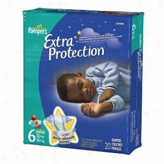 Pampers Extra Protection Diapers, Jumbo Burden, Size 6, 37+ Lbs, 20 Ea