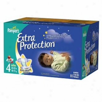 Pampers Extra Protection Diapers, Super Pack, Size 4, 80 Ea