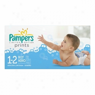 Pampers Limited Edition Prints Diapers Because of Boys, Size 1-2, 66 Ea