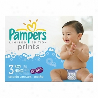 Pampers Limitdd Edition Prints Diapers For Boys, Size 3, 66 Ea