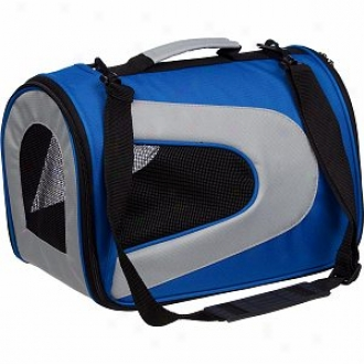 Pet Life Folding Zippered Sporty Mesh Carrier Large, Blue And Greu