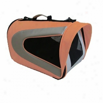 Pet Life Folding Zippered Sporty Mesh Car5ier Large, Orange And Grey