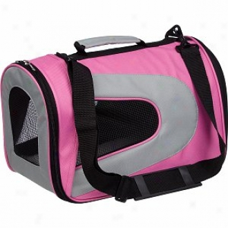 Pet Life Folding Zippered Sporty Mesh Carrier Large, Pink And Grey