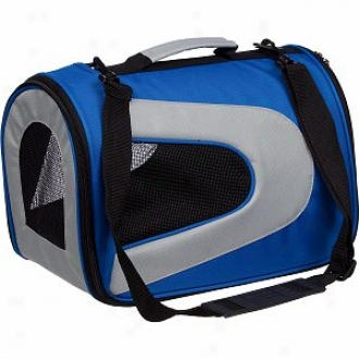 Pet Life Folding Zippered Sporty Mesh Carrier Medium, Blue And Grey
