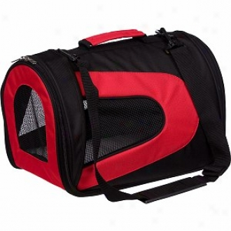 Pet Life Folding Zippered Sporty Mesh Carrier Medium, Red And Black