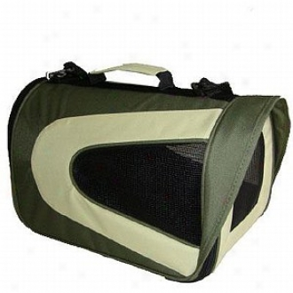 Pet Life Folding Zippered Sporty Mesh Carrier Small, Green And Khaki