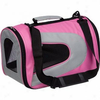 Pet Life Folding Zippered Sporty Mesh Carrier Small, Pink And Grey
