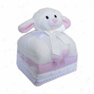 Piccolo Bambino Cuddly Pal With 3 Flannel Receiving Blankets Sheep