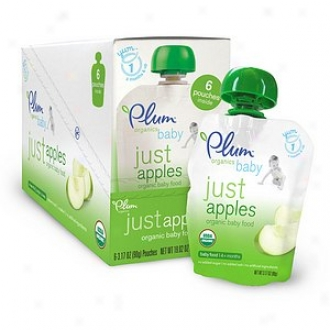 Pl8m Organics Bab Just Fruits Organic Baby Food: Station 1, 6-pack, Apples