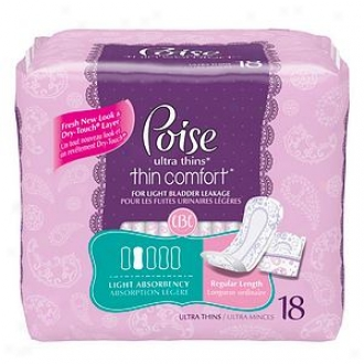 Poise Ultra Thins Thin Comfort, Light Absorbency, Normal Length
