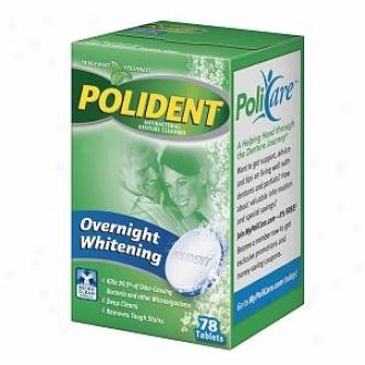 Polident Overnight Whitening, Antibacterial Denture Cleanser, Triple Mint Freshness