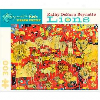 Pomegranate Communications Kathy Dezarn Beynette Lions Puzzle 300 Pcs Ages 6+