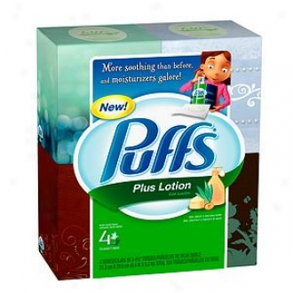 Puffs Plus Lotion Facial Tissues, Cube, 4 Boxes (56 Count Eachh)